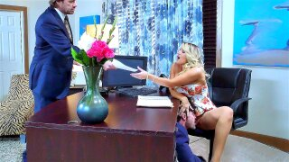 Cali carter almost caught by her dad while getting licked by her co-worker