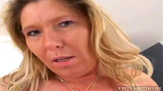 Granny jana is a voluptuous mature blonde with big tits wearing sexy lingerie while sucking and stroking this large cock, getting her tight pussy fucked hard and swallowing it's cum.